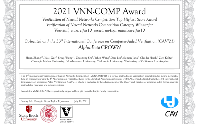 Computer Science faculty Cho-Jui Hsieh and students Zhouxing Shi and Yihan Wang won VNN-Comp'21
